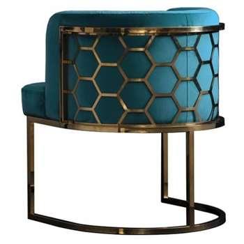 Alveare Dining chair Brass - Teal (H75 x W60 x D60cm)