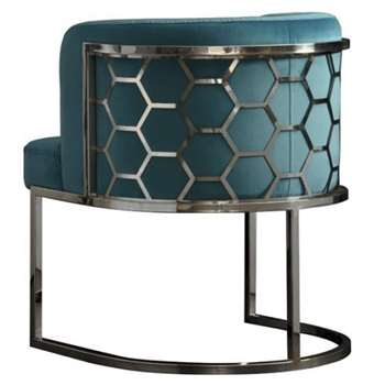 Alveare Dining chair Silver - Teal (H75 x W60 x D60cm)