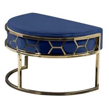 Alveare Footstool Brass - Ink Blue (H41 x W75 x D50cm)