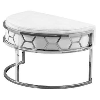 Alveare Footstool Silver - Chalk (H41 x W75 x D50cm)