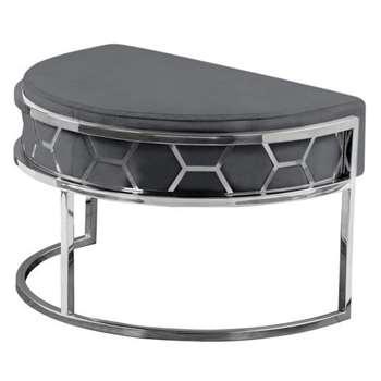 Alveare Footstool Silver - Smoke Grey (H41 x W75 x D50cm)