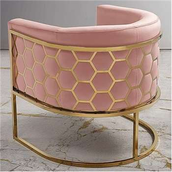 Alveare tub chair Brass - Blush Pink (75 x 75cm)