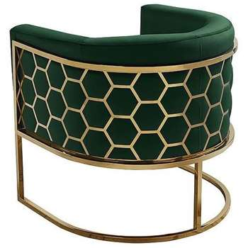 Alveare tub chair Brass -Bottle green (H75 x W75 x D70cm)