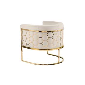 Alveare tub chair Brass - Chalk (H75 x W75 x D70cm)