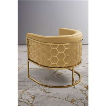 Alveare tub chair Brass - Ochre (H75 x W70 x D75cm)