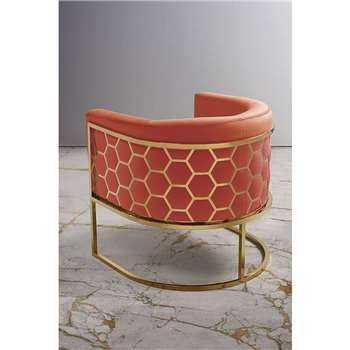 Alveare tub chair Brass - Orange (H75 x W70 x D75cm)