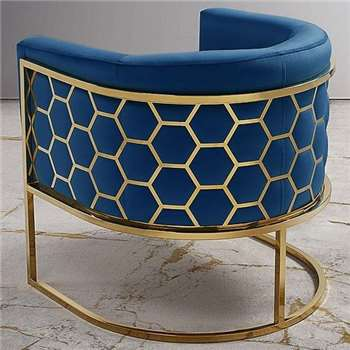 Alveare tub chair Brass – Royal Blue (75 x 75cm)