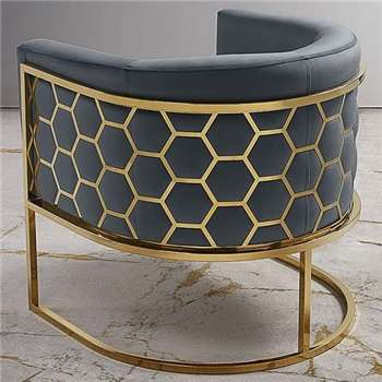 Alveare tub chair Brass -Smoke grey (75 x 75cm)