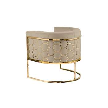 Alveare tub chair Brass - Taupe (H75 x W75 x D70cm)