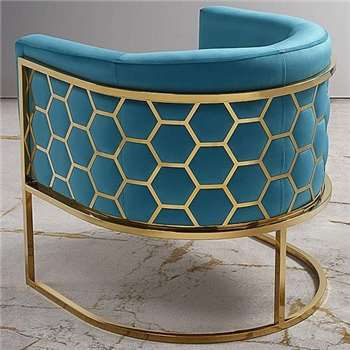 Alveare tub chair Brass - Teal (75 x 75cm)