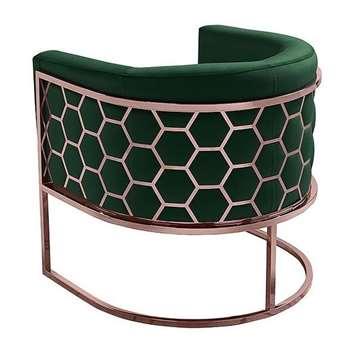 Alveare tub chair Copper -Bottle green (H75 x W75 x D70cm)