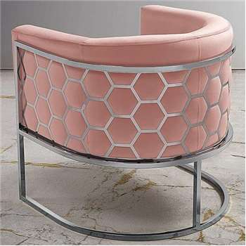 Alveare tub chair Silver - Blush Pink (75 x 75cm)