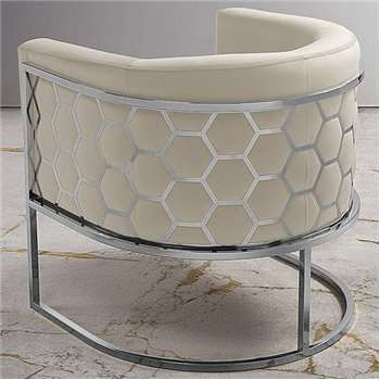 Alveare tub chair Silver - Chalk (75 x 75cm)