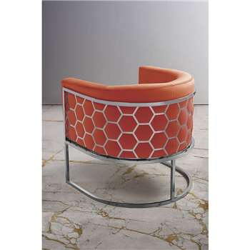 Alveare tub chair Silver - Orange (H75 x W70 x D75cm)