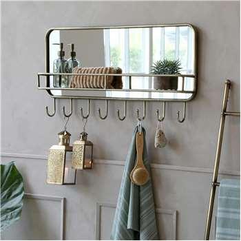 Alvis Mirror Shelf with Hooks (H44.5 x W287 x D12cm)