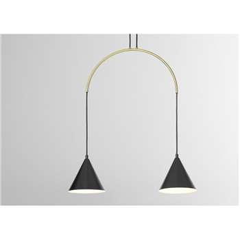 Amada Pendant Lamp, Black & Antique Brass (H107 x W64 x D18cm)
