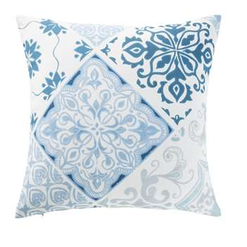 AMADORA Outdoor Cushion with Blue and White Cement Tile Print (H45 x W45 x D0cm)