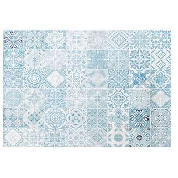 AMADORA White Outdoor Rug with Blue Cement Tile Print (H155 x W230cm)