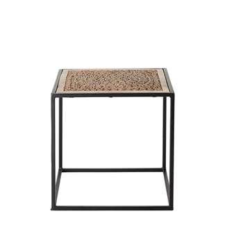 AMALA Carved Mango Wood and Black Metal End Table (46 x 46cm)