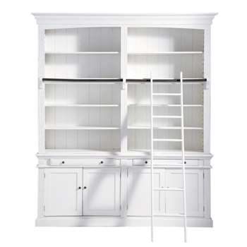 AMANDINE Wooden bookcase with ladder in white (230 x 200cm)