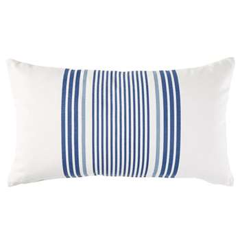 AMARRE Outdoor Cushion in Ecru Cotton with Blue Stripe Print 30x50 (H30 x W50 x D10cm)
