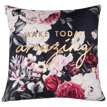 AMAZING Cushion Cover with Floral and Gold Print (H40 x W40cm)