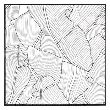 AMAZONIE black metal leaf wall art (H100 x W100 x D2cm)