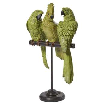 AMAZONIE - Green and Black Metal Parrot Ornament (H50 x W30 x D17cm)