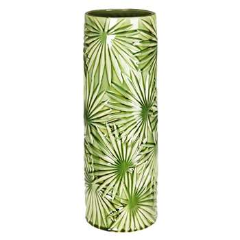 AMAZONIE Green stoneware vase with leaf motifs (50 x 19cm)