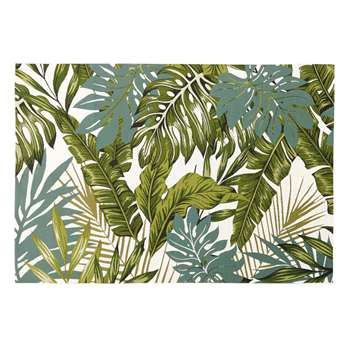 AMAZONIE White Outdoor Rug with Green Foliage Print (H140 x W200cm)