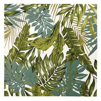 AMAZONIE White Outdoor Rug with Green Foliage Print (H200 x W200cm)
