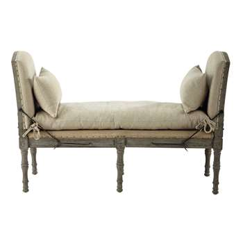 AMBOISE 2 seater linen bench in beige (84 x 129cm)