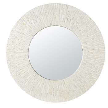 AMELIA - Round Mirror in Pieces of Mother of Pearl (Diameter 90cm)