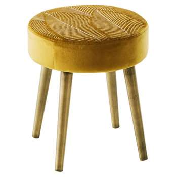 AMENA Gold Embroidered Velvet Stool with Pine Legs (H42 x W36 x D36cm)