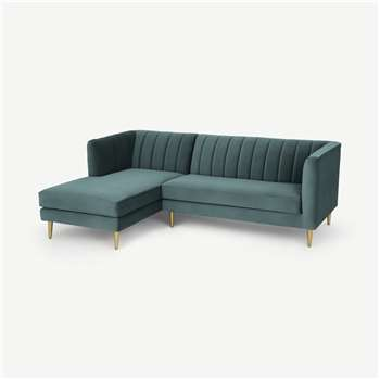 Amicie Left Hand Facing Chaise End Corner Sofa, Marine Green Velvet (H77 x W218 x D160cm)