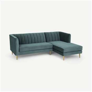 Amicie Right Hand Facing Chaise End Corner Sofa, Marine Green Velvet (H77 x W218 x D160cm)