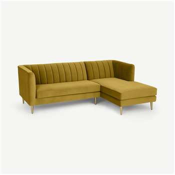 Amicie Right Hand Facing Chaise End Corner Sofa, Vintage Gold Velvet (H79 x W219 x D160cm)