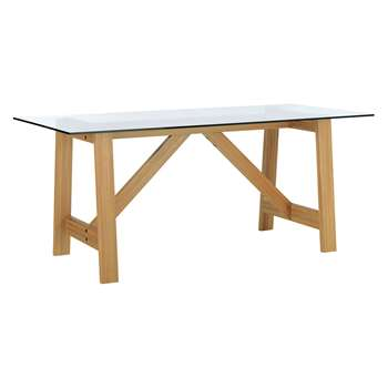 Amos 8 Seater Oak Dining Table With Glass Top (H76 x W200 x D80cm)