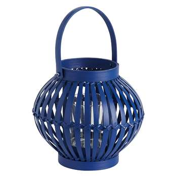 Amrah Cobalt Blue Round Bamboo Lantern With Handle (H15 x W24 x D24cm)