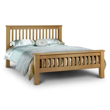 Amsterdam Bed Frame in Oak with High Foot End by Julian Bowen - Double (H108 x W151.5 x D212cm)