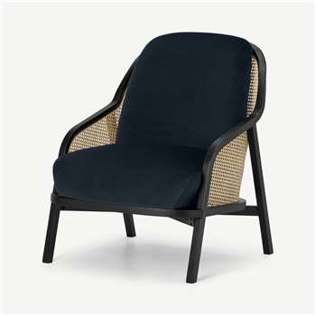 Anakie Accent Armchair, Twilight Blue Velvet (H87 x W70 x D77cm)