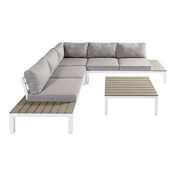 ANDAMAN 6-seater patio set in white aluminium composite with light grey cushions (80 x 247cm)