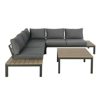 ANDAMAN Anthracite Grey 6-Seater Patio Set and Coffee Table (H80 x W247 x D247cm)