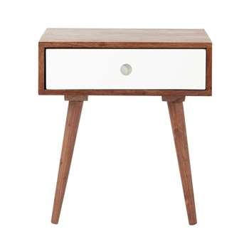 ANDERSEN Solid sheesham wood vintage bedside table with drawer (46 x 44cm)