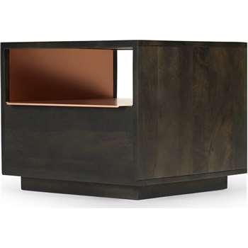 Anderson  Bedside Table, Mocha & Copper (H40 x W50 x D46cm)