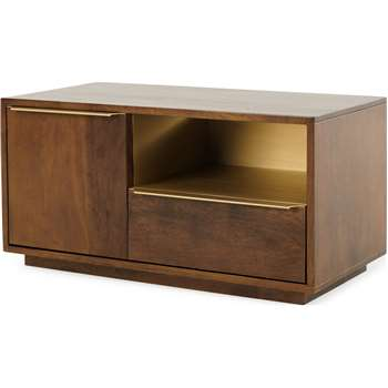Anderson Compact TV Stand, Mango Wood and Brass (H45 x W90 x D45cm)