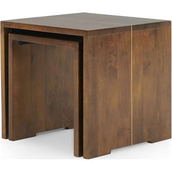 Anderson Set of 2 Nesting Tables, Mango Wood and Brass (H50 x W50 x D50cm)