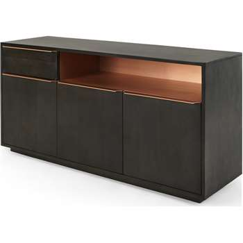 Anderson Sideboard, Mocha Mango Wood and Copper (H75 x W150 x D45cm)