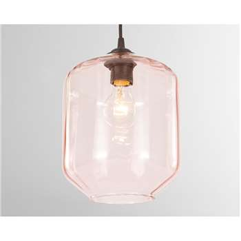 Andes Lamp Shade, Pink Glass (H25 x W20 x D20cm)