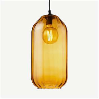 Andes Tall Lamp Shade, Amber Yellow Glass (H40 x W21 x D21cm)